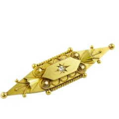 Victorian Old Cut Diamond Brooch, 15 Carat Gold