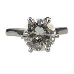 1.90 Carat Diamond Solitaire Ring, Tiffany Style Setting in White, Pre-Owned
