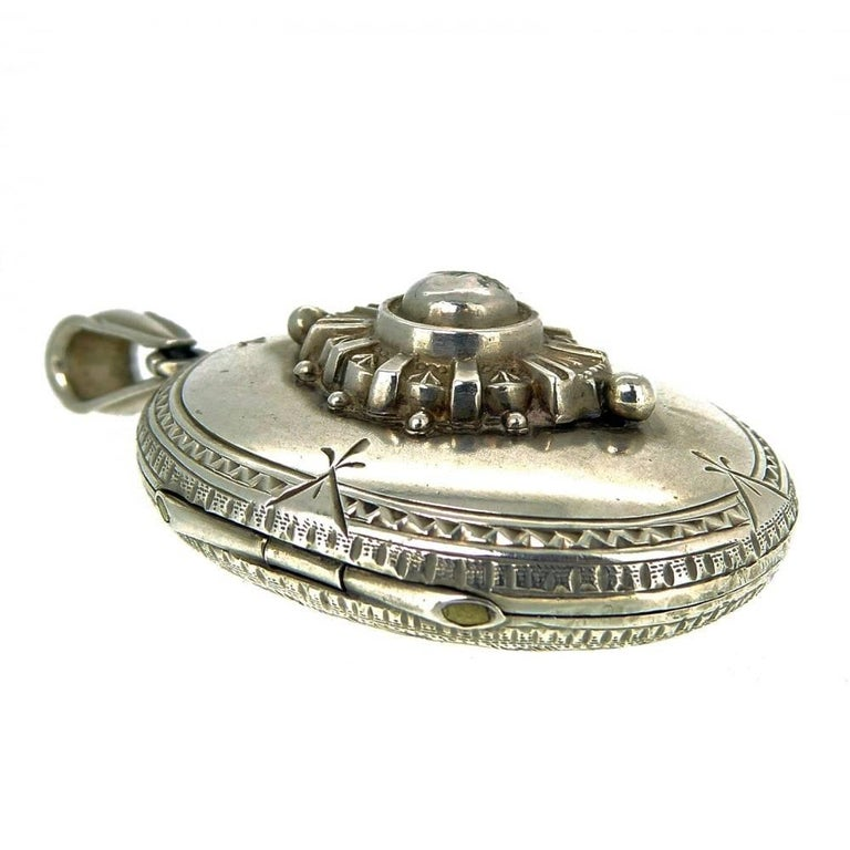 Women's Victorian Silver Locket, circa 1890s For Sale