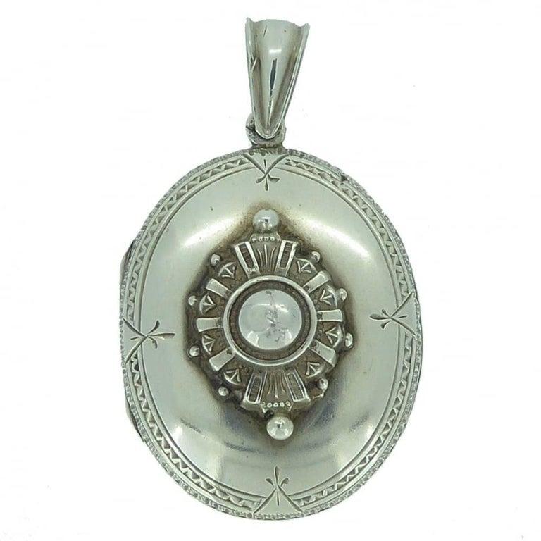 Victorian Silver Locket, circa 1890s For Sale