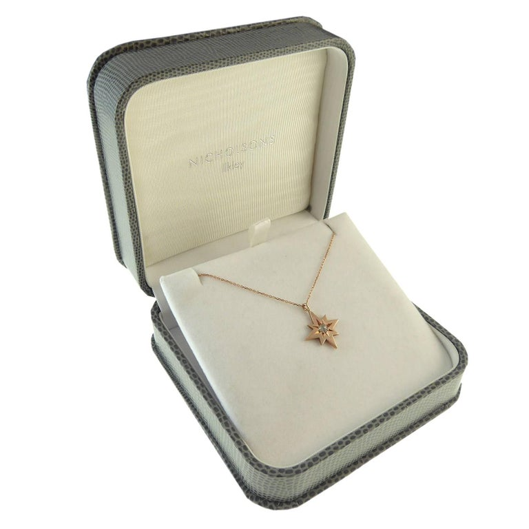 Women's Modern, Pre-Owned Rose Cut Diamond Pendant in 9 Carat Rose Gold Star Setting For Sale