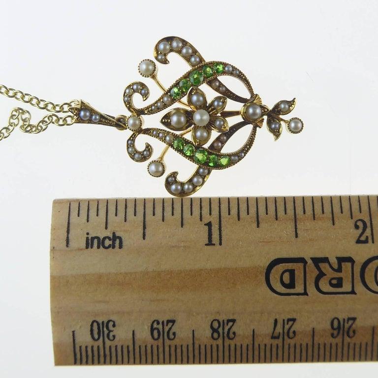 Antique Art Nouveau Pendant, 15 Carat Gold with Demantoid Garnet and Seed Pearls 8
