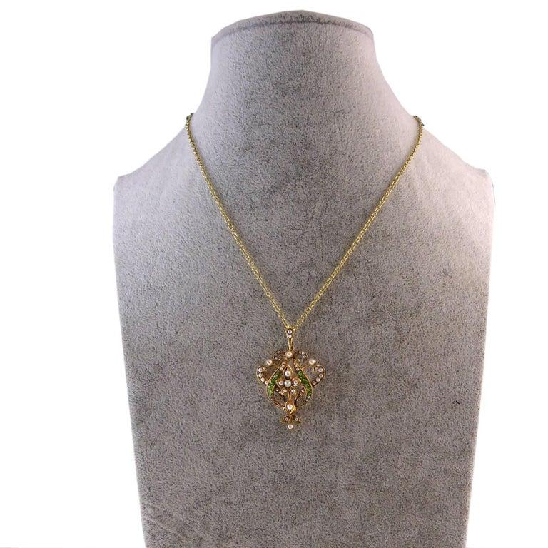 Antique Art Nouveau Pendant, 15 Carat Gold with Demantoid Garnet and Seed Pearls 6