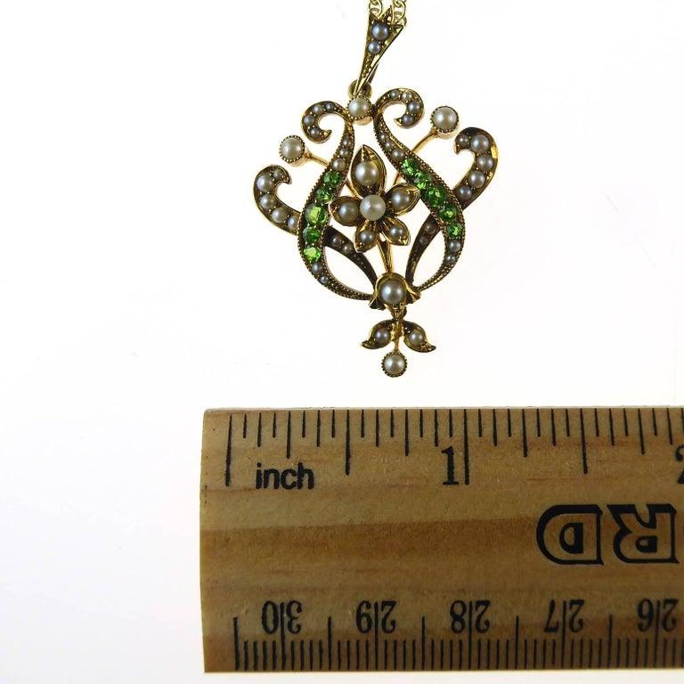 Antique Art Nouveau Pendant, 15 Carat Gold with Demantoid Garnet and Seed Pearls 7