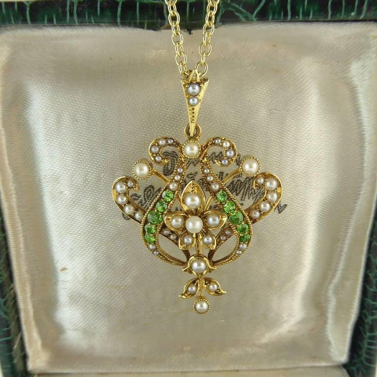 Antique Art Nouveau Pendant, 15 Carat Gold with Demantoid Garnet and Seed Pearls 9