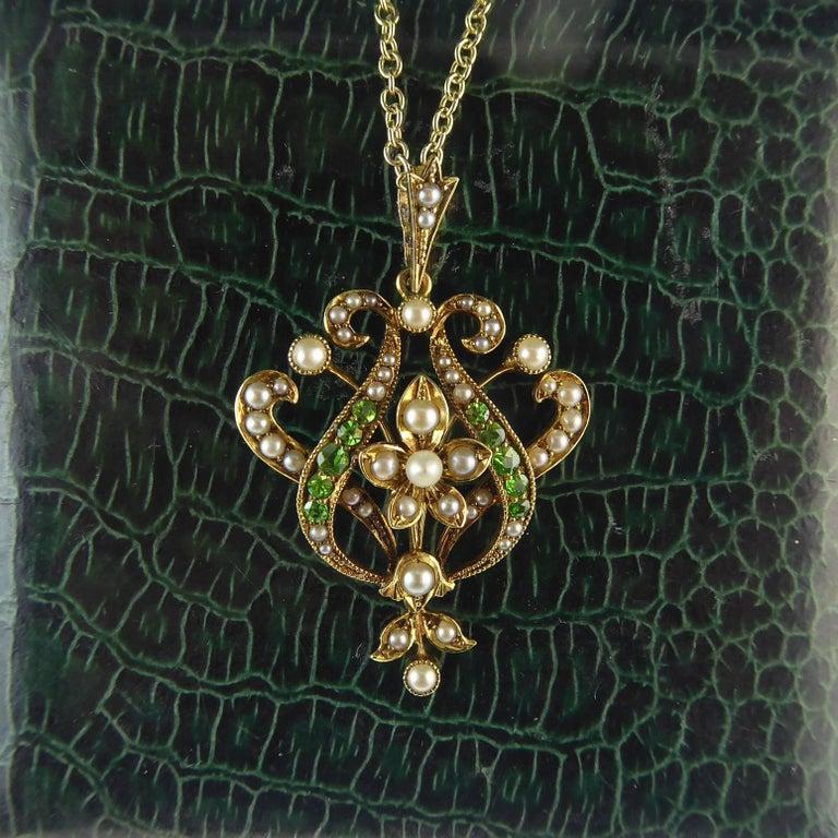 Antique Art Nouveau Pendant, 15 Carat Gold with Demantoid Garnet and Seed Pearls 2