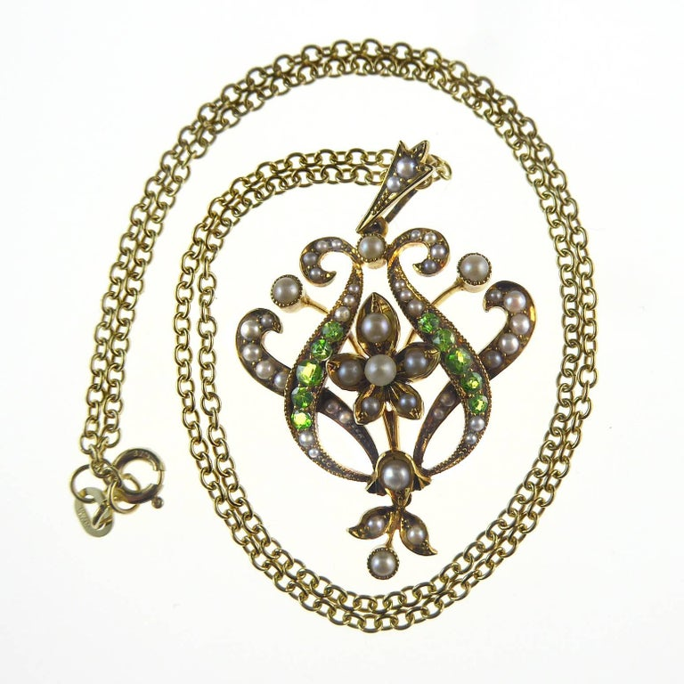Antique Art Nouveau Pendant, 15 Carat Gold with Demantoid Garnet and Seed Pearls 3