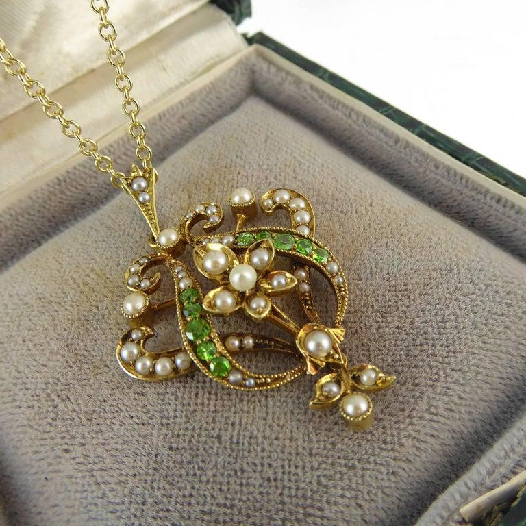 Antique Art Nouveau Pendant, 15 Carat Gold with Demantoid Garnet and Seed Pearls 4