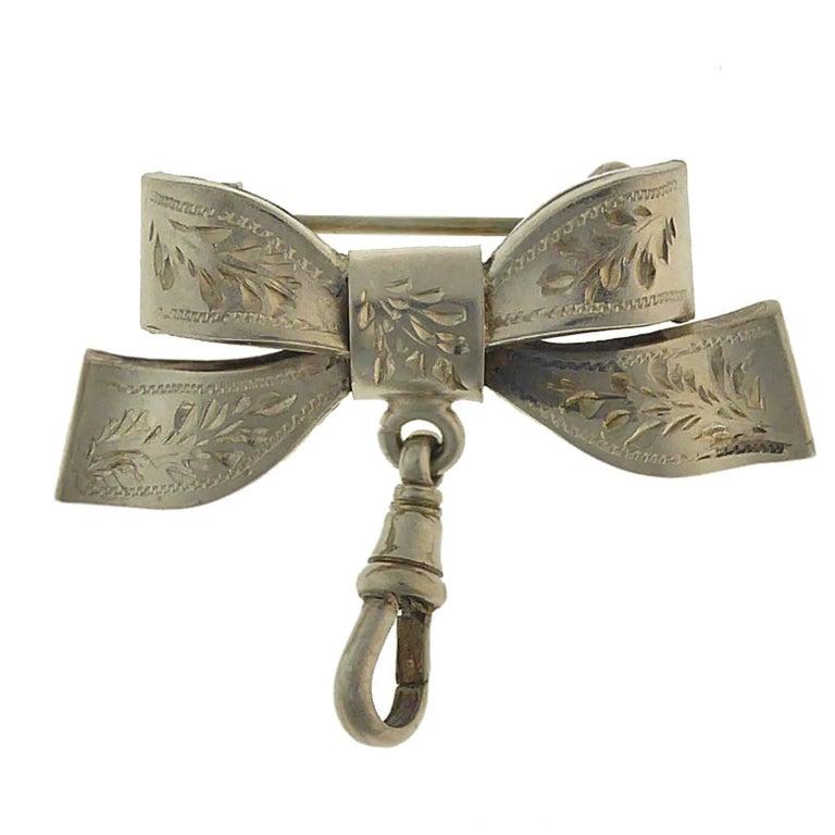 Antique Silver Ribbon Fob Brooch