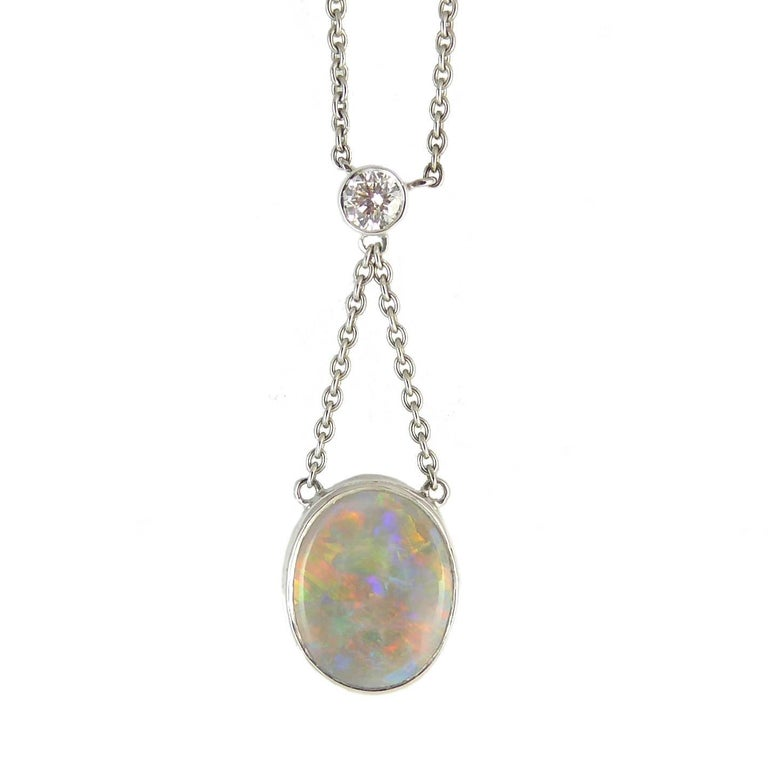 Pre-Owned Antique Style Necklace, Cabochon Opal 1.0 Carat and Diamond For Sale