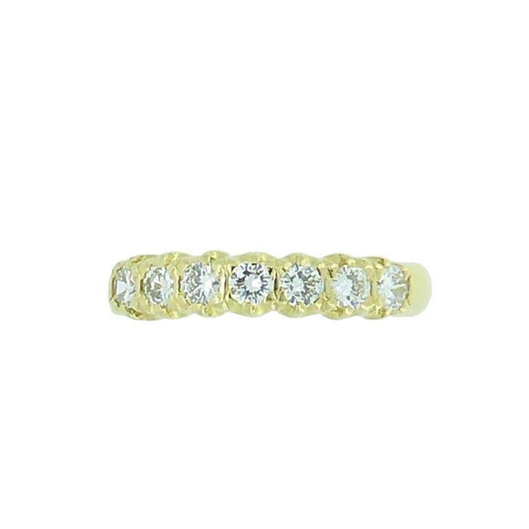 Women's Vintage 0.75 Carat Diamond Eternity Ring, 18 Carat Yellow Gold Band For Sale