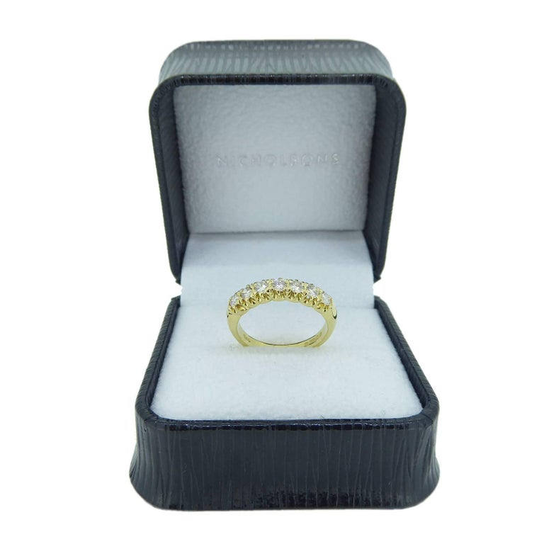 Vintage 0.75 Carat Diamond Eternity Ring, 18 Carat Yellow Gold Band For Sale 1