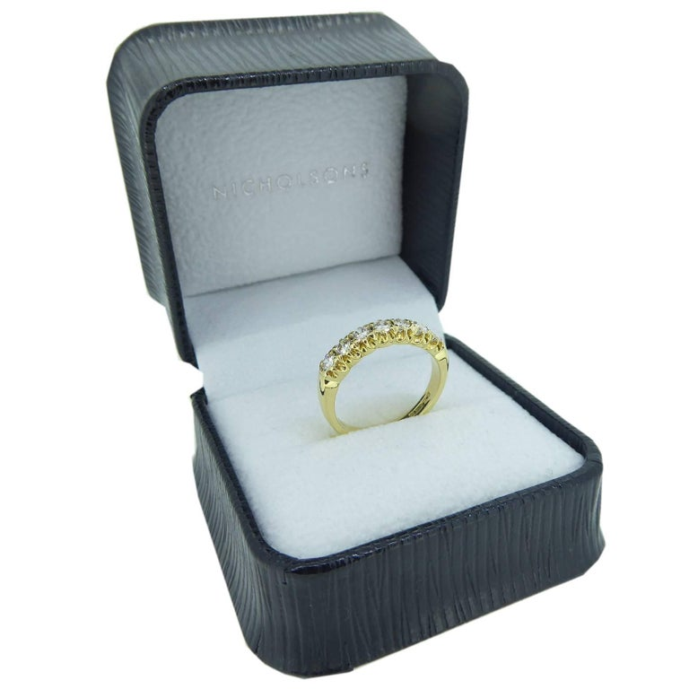 Vintage 0.75 Carat Diamond Eternity Ring, 18 Carat Yellow Gold Band For Sale 2