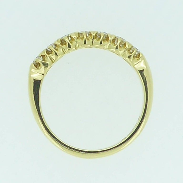 Vintage 0.75 Carat Diamond Eternity Ring, 18 Carat Yellow Gold Band For Sale 3