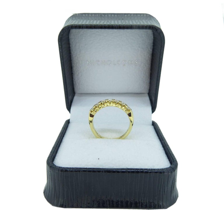 Vintage 0.75 Carat Diamond Eternity Ring, 18 Carat Yellow Gold Band For Sale 4