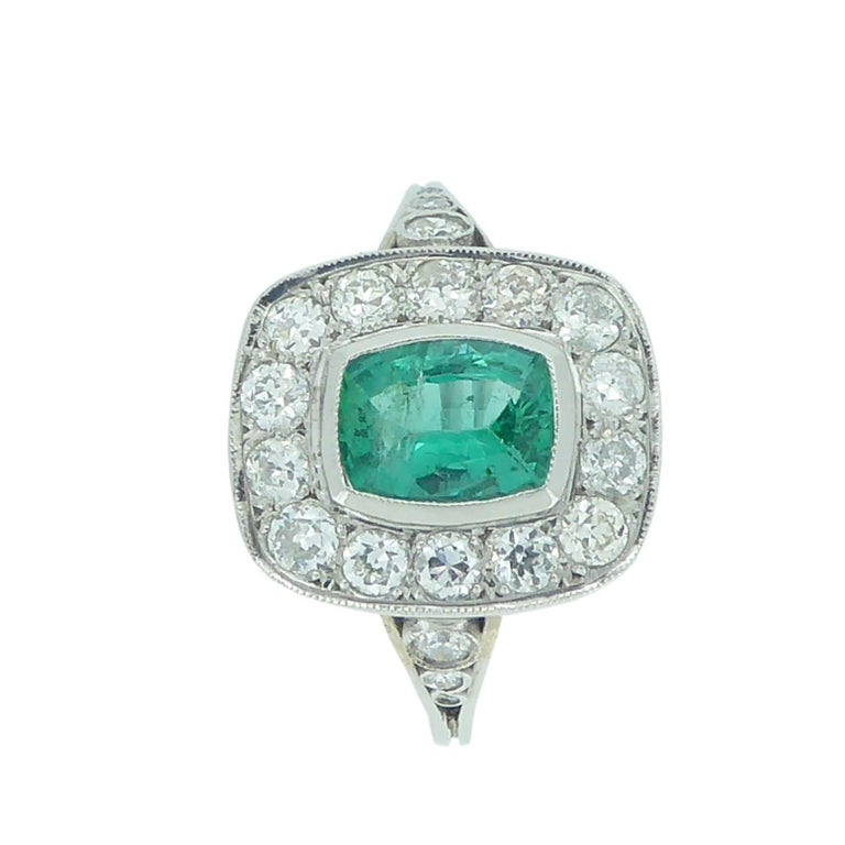 deco style emerald and ring 1 04 carat