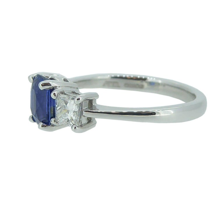 Art Deco Sapphire and Diamond Engagement Ring in Traditional Style For Sale