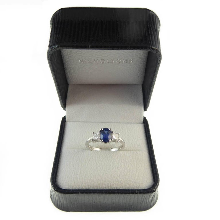 Sapphire and Diamond Engagement Ring in Traditional Style For Sale 1