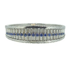 Sapphire Line Bracelet, circa Late 1970s-Early 1980s, 18 Carat White Gold