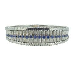 Vintage Sapphire Bracelet, 18 Carat White Gold, Circa 1970s