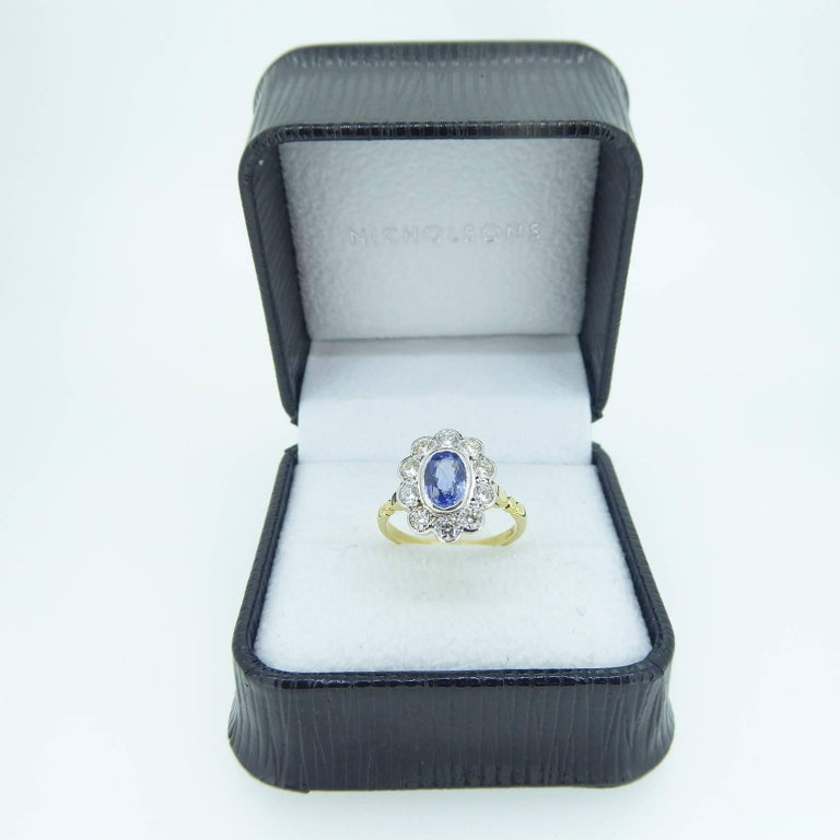 Women's Vintage Sapphire and Diamond Engagement Ring, Cluster Style in 18 Carat Gold For Sale