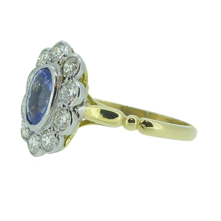Retro Vintage Sapphire and Diamond Engagement Ring, Cluster Style in 18 Carat Gold For Sale
