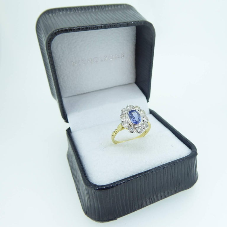 Vintage Sapphire and Diamond Engagement Ring, Cluster Style in 18 Carat Gold In Excellent Condition For Sale In Yorkshire, West Yorkshire