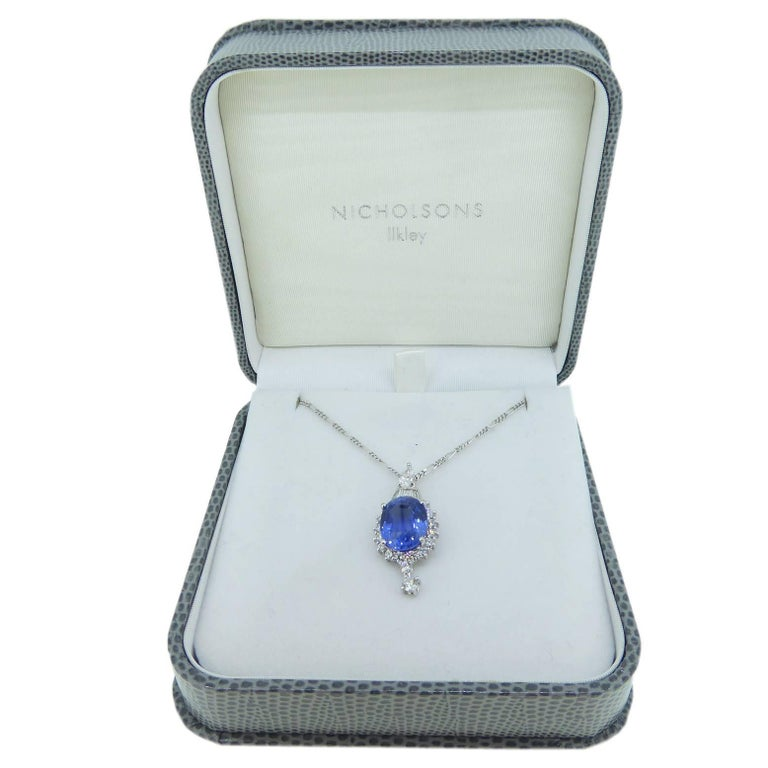 Modern 7.60 Carat Sapphire Pendant, Baguette, Diamonds, circa 1980 For Sale