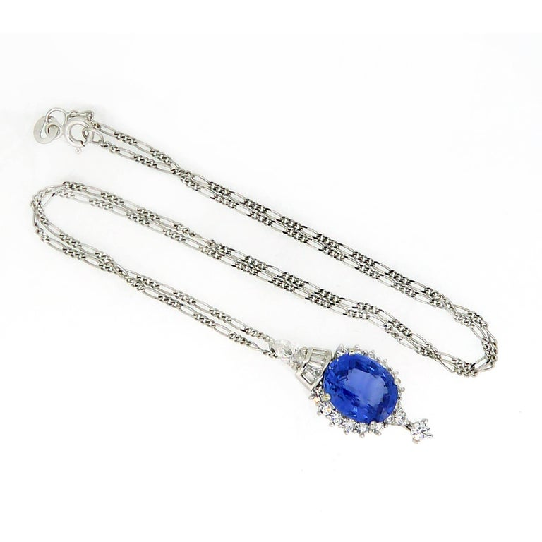 7.60 Carat Sapphire Pendant, Baguette, Diamonds, circa 1980 In Excellent Condition For Sale In Yorkshire, West Yorkshire