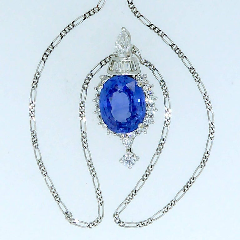7.60 Carat Sapphire Pendant, Baguette, Diamonds, circa 1980 For Sale 2