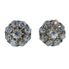 Victorian Diamond Cluster Earring Studs