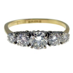 1980s Vintage Diamond Engagement Ring, 0.68 Carat, Hallmarked Sheffield, 1988