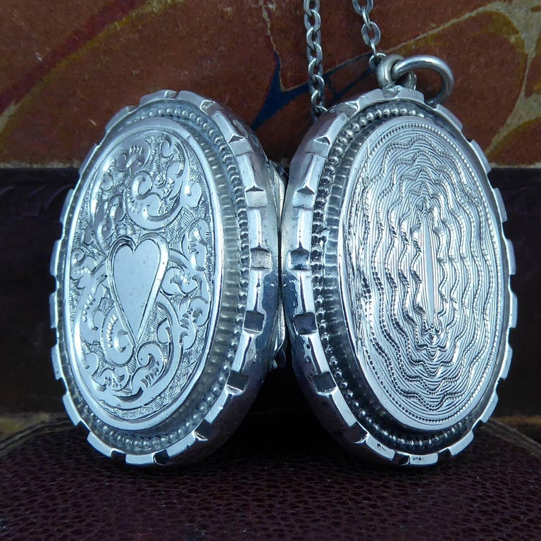 Women's Antique Silver Locket, Silver Chain, circa Edwardian, Hand and Machine Engraved For Sale