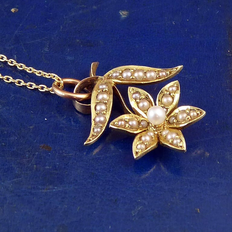 Victorian 15 Carat Pearl Flower Pendant, circa 1900 on 9 Carat Gold Chain For Sale 2