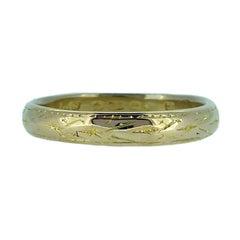 Vintage 1940s Wedding Ring, 22 Carat Gold, Hand Engraved