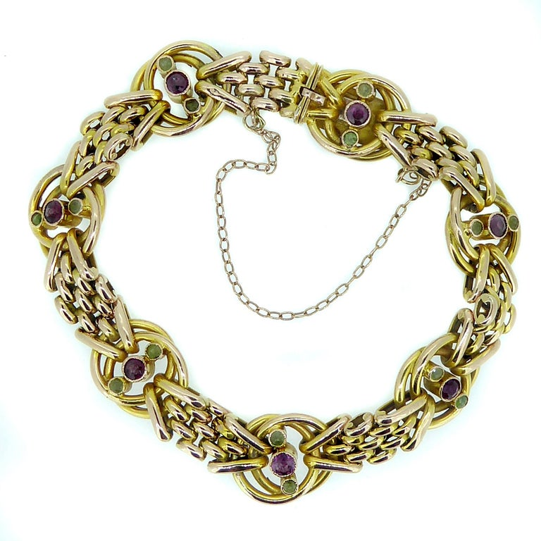 Victorian Gold Bracelet Set with Almandime Garnet and Peridot, 9ct Yellow Gold