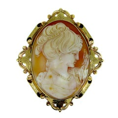 Vintage Carved Shell Cameo Brooch, Ornate Gold Surround, Hallmarked, 1965