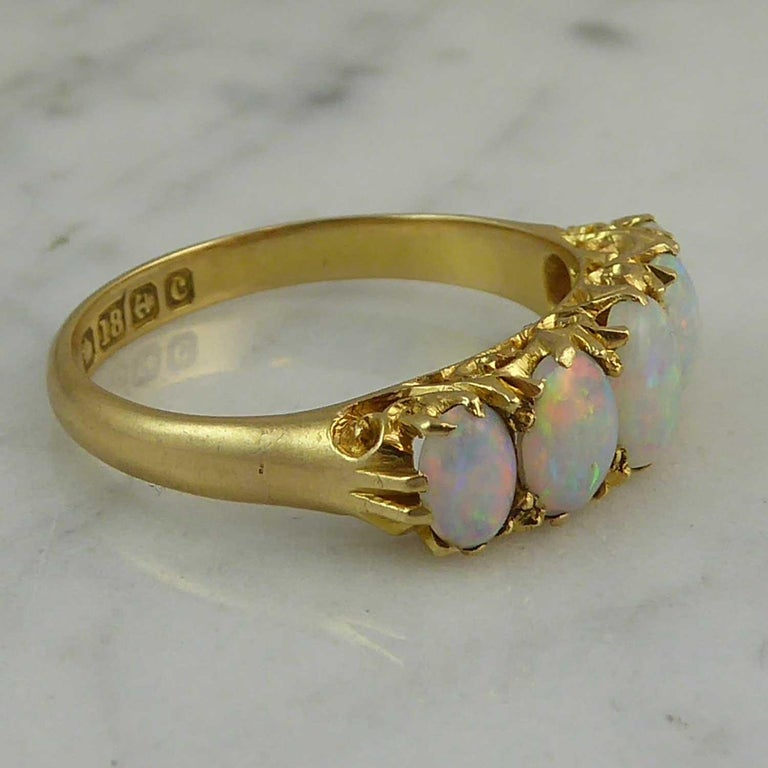 Antique Edwardian Opal Ring, Cabochon Cut, Birmingham, 1902, 18 Karat Gold In Excellent Condition For Sale In Yorkshire, West Yorkshire