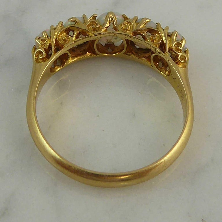Women's Antique Edwardian Opal Ring, Cabochon Cut, Birmingham, 1902, 18 Karat Gold For Sale