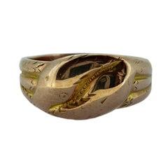 Antique Gold Snake Ring, Hallmarked Birmingham 1918, 9 Carat Rose Gold