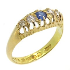 Antique Sapphire and Diamond Ring Hallmarked Chester, 1915