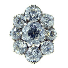 Victorian 4.17 Carat Diamond Ring, Old European Cut Oval Cluster, circa 1880s