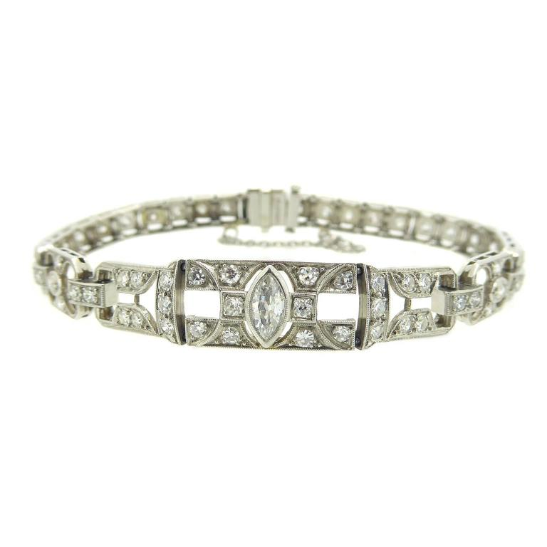 1.49 Carat Diamonds Platinum Bracelet circa 1940-1950