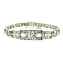 1.49 Carat Diamonds Platinum Bracelet circa 1940-1950