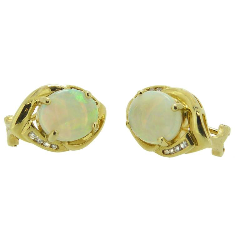 Cabochon Opal Diamond Gold Earrings