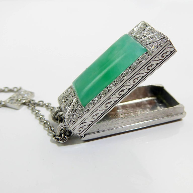 Art Deco Jade Diamond Pendant For Sale 3