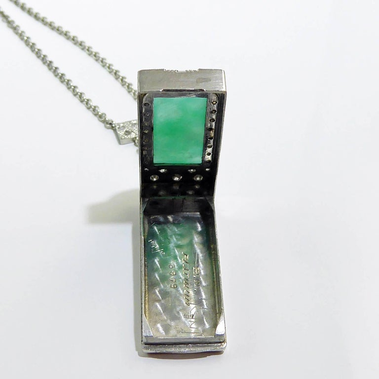 Art Deco Jade Diamond Pendant For Sale 4
