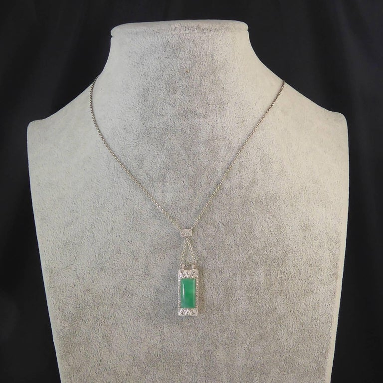 Art Deco Jade Diamond Pendant For Sale 5