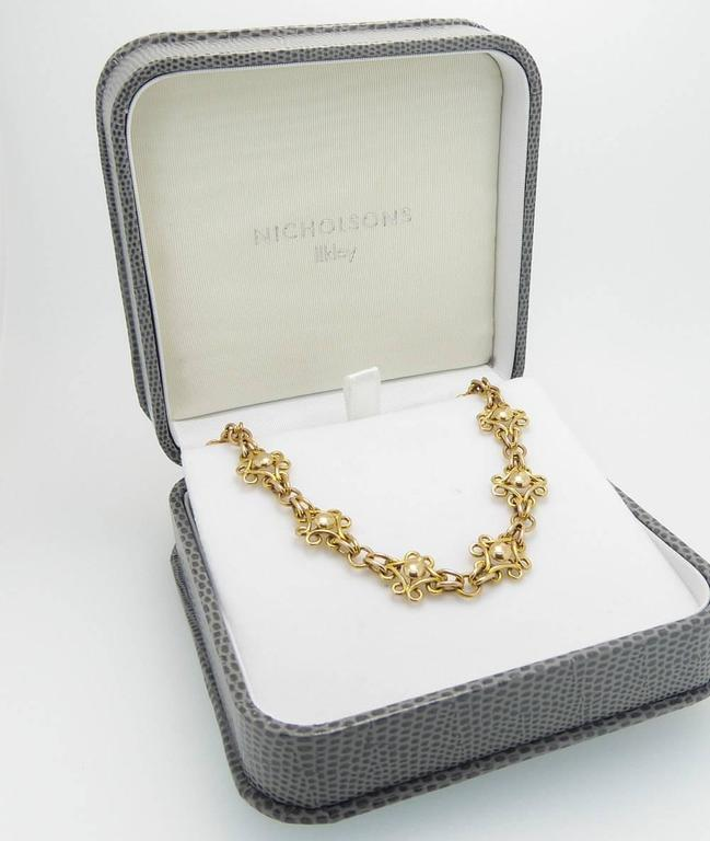 Antique Gold Bracelet Late Victorian Early Edwardian 15 Carat Fancy Links In Excellent Condition For Sale In Yorkshire, West Yorkshire