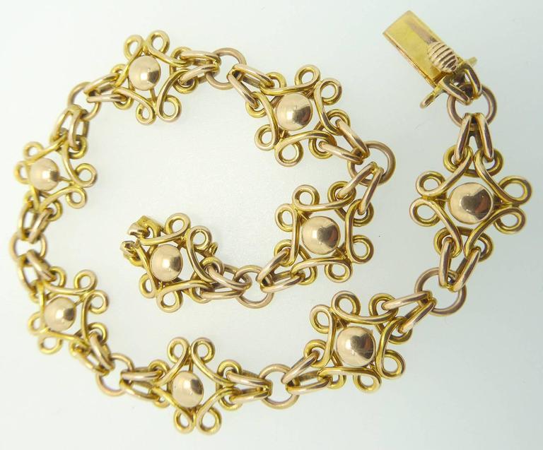 Women's Antique Gold Bracelet Late Victorian Early Edwardian 15 Carat Fancy Links For Sale